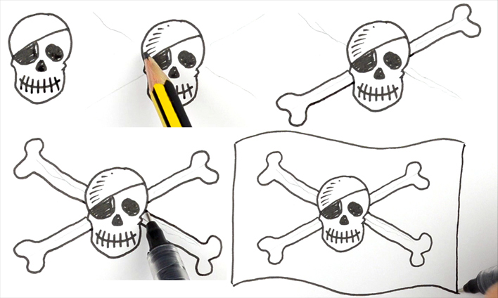 How to draw the Skull and Cross Bones
