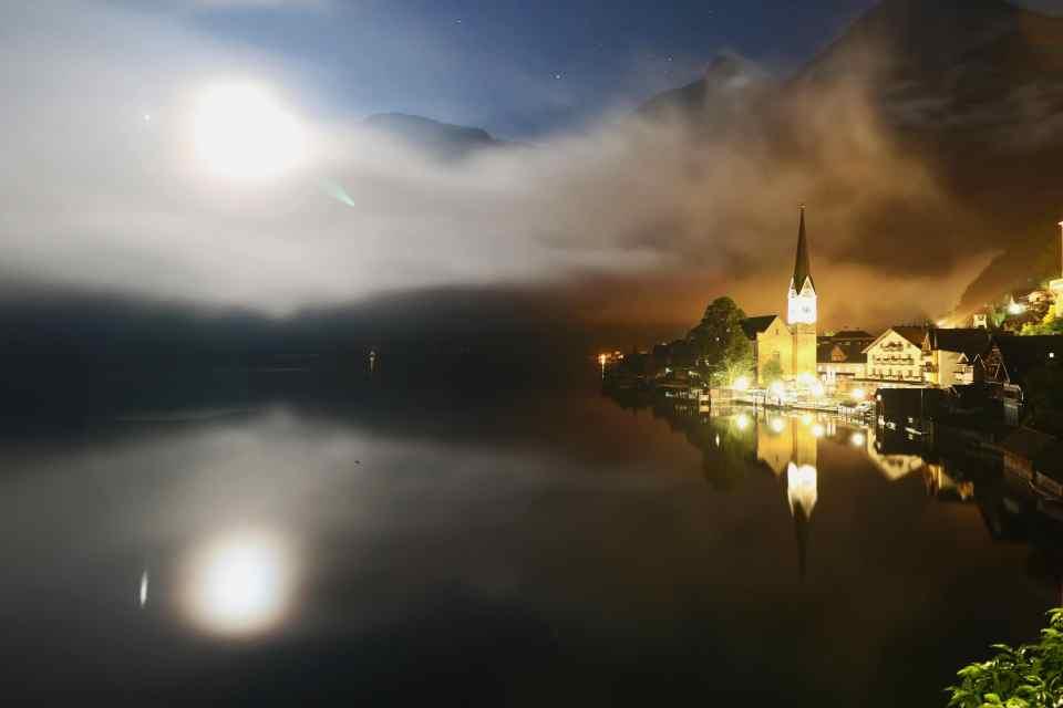 Night photography in Hallstatt