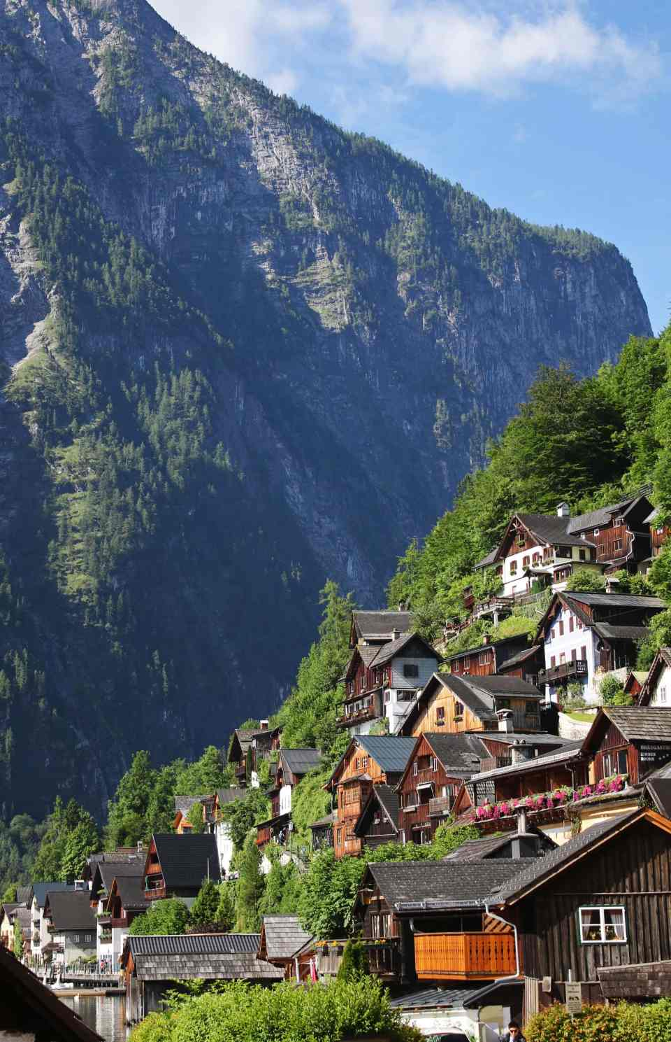 Houses built into hillside at Hallstatt
