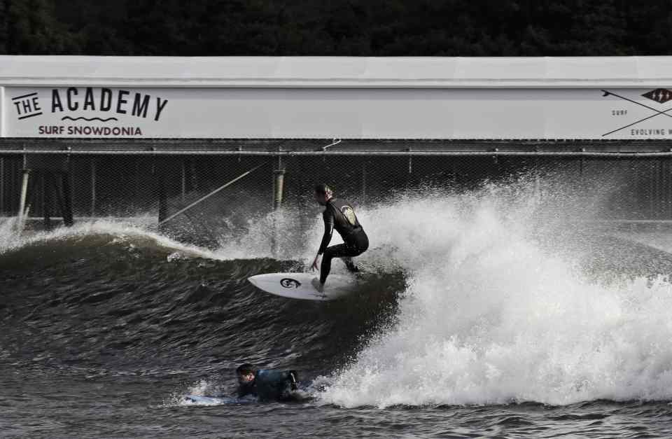 Catching a wave at Surf Snowdonia