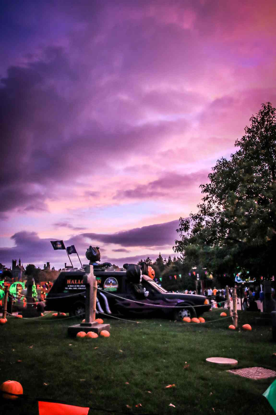 Spooky skies during the Scarefest event at Alton Towers