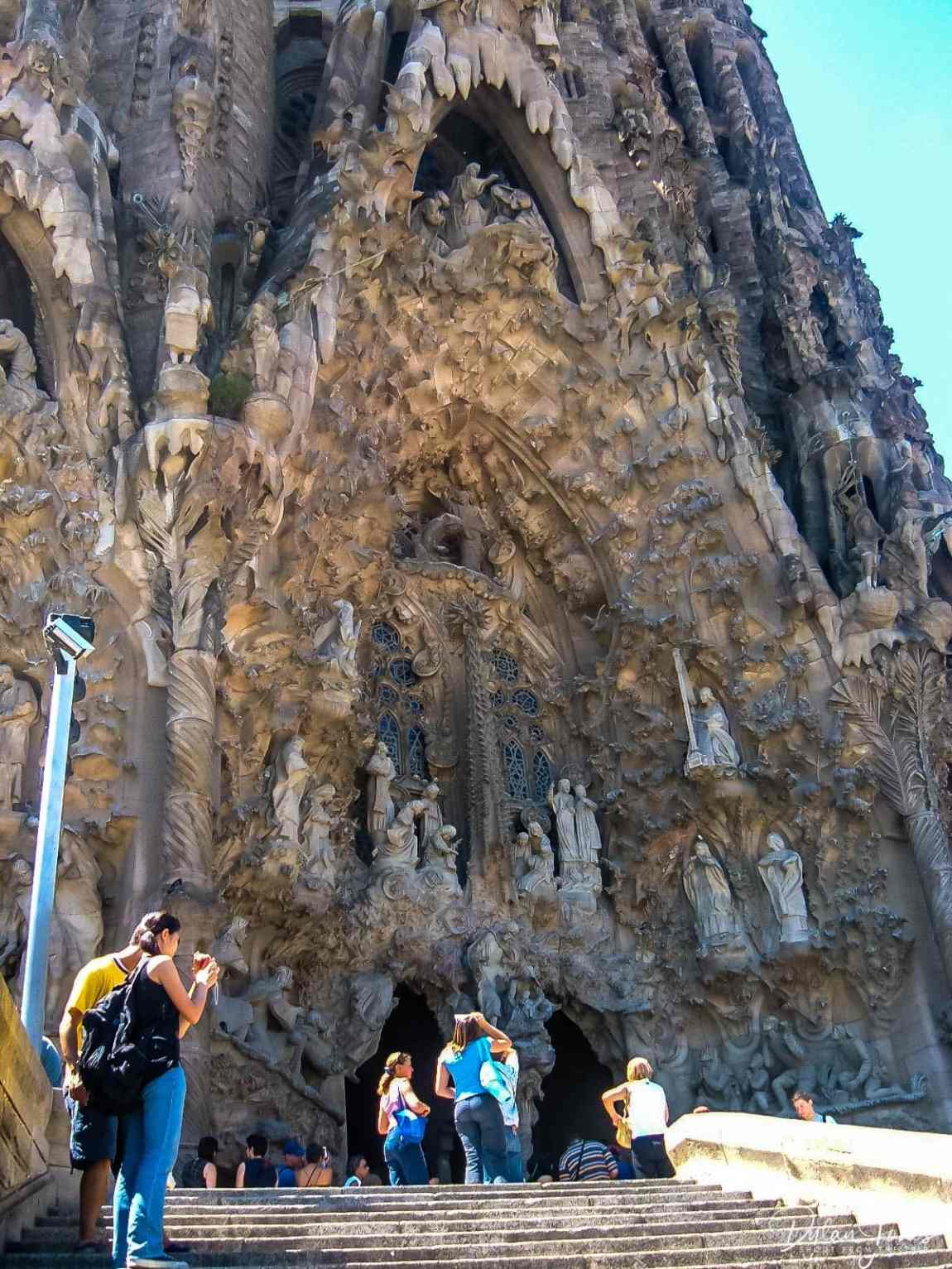 Intricate details to one of the facades of La Sagrada Familia