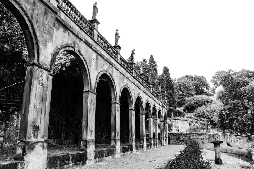 A colonnade in the Alton Towers gardens