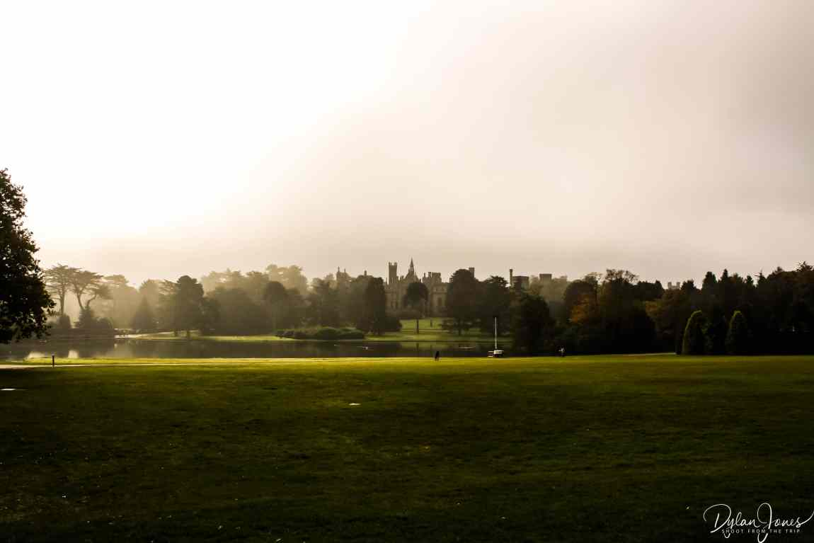 A misty view of Alton Towers from the front lawns