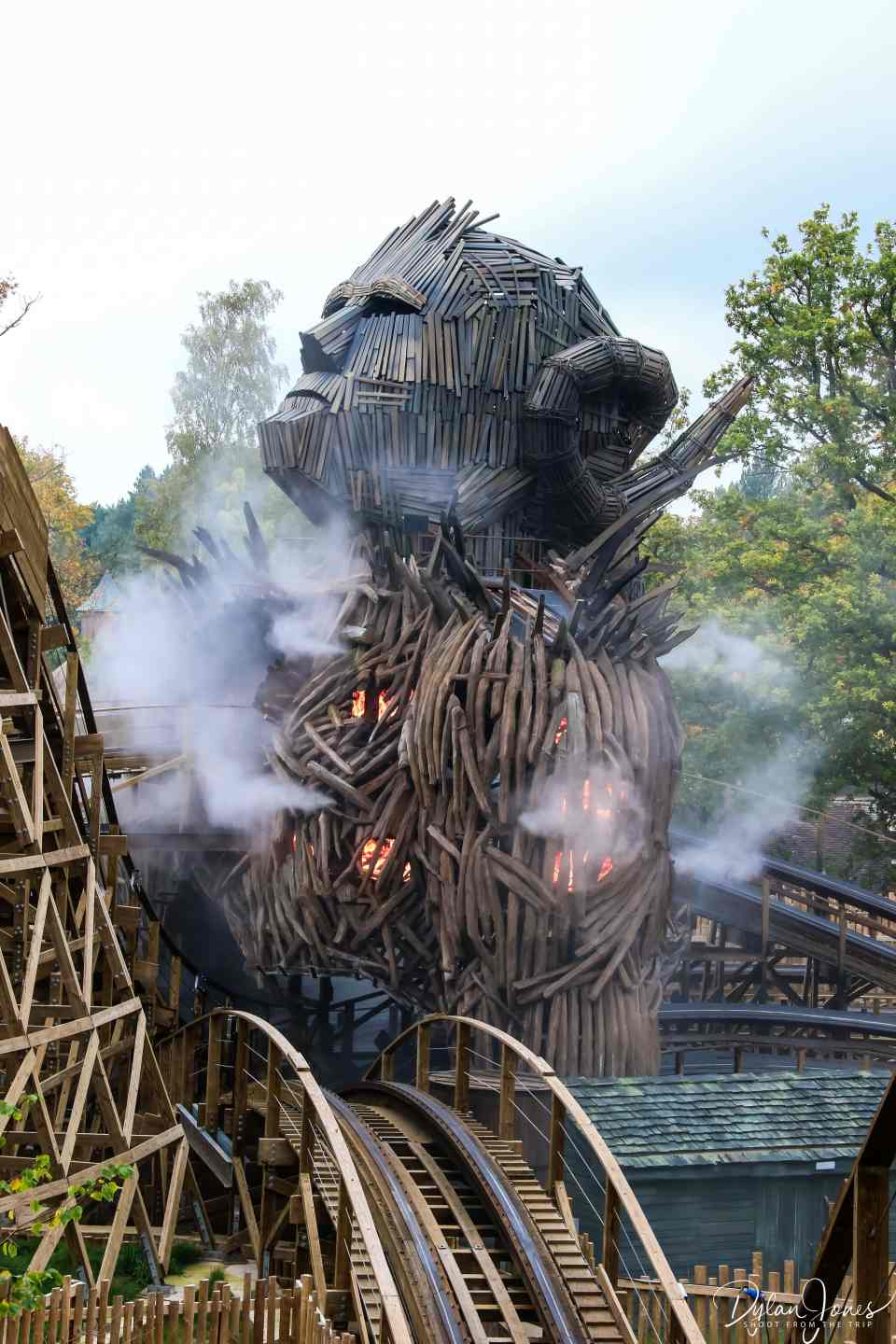 Wooden track twisting through the Wicker Man structure