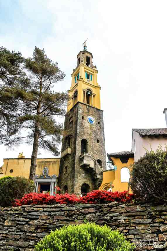 The Clocktower building at Portmeirion Village standing tall