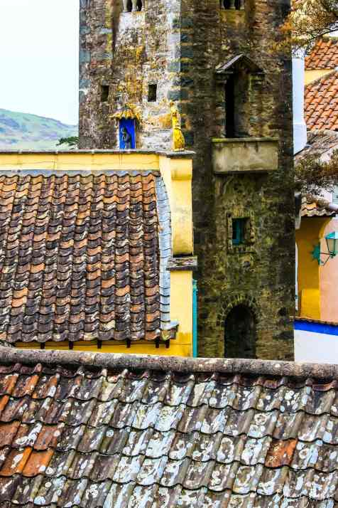 Close up views of the terracotta tiled rooftops at Portmeirion Village