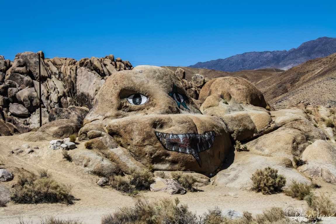 Eastern Sierra painted face on a rock in Alabama Hills
