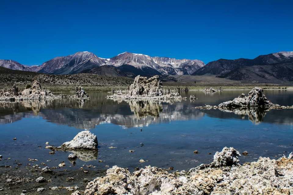 Eastern Sierra Mono Lake with a mountain backdrop