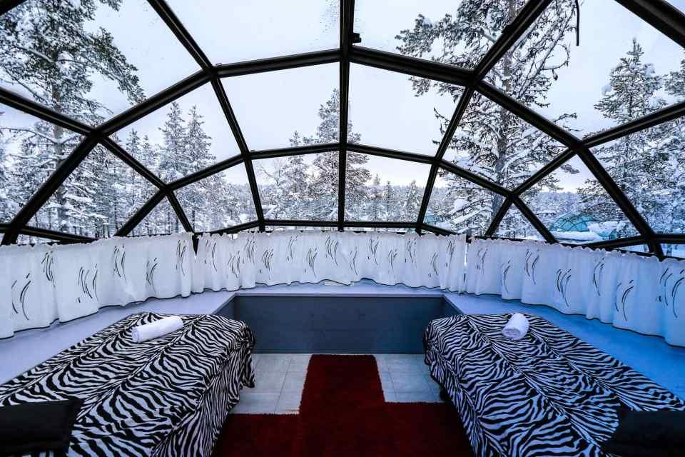 Interior shot of the glass igloo at Kakslauttanen East Village