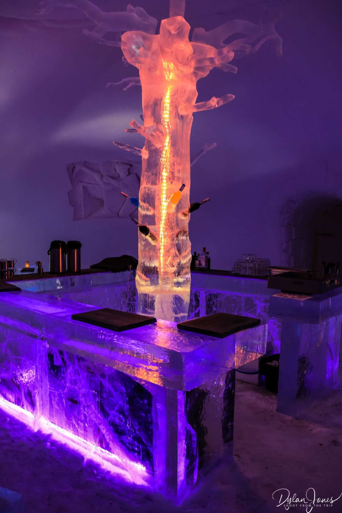 Ice bar and shelving feature at the Ice Restaurant, Saariselkä Lapland