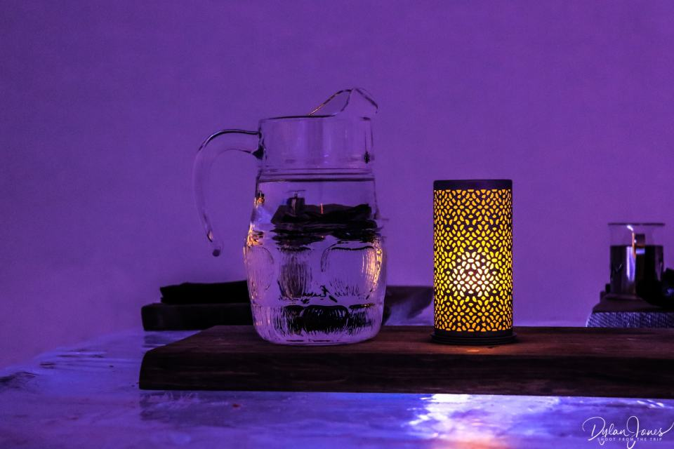 Ice Restaurant table decorations. Water jug not made of ice, Saariselkä Lapland