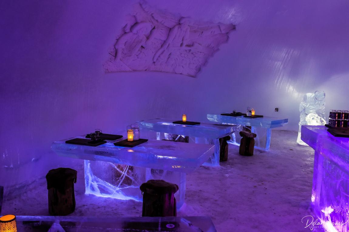 Ice Restaurant dining tables and sculpture, Saariselkä Lapland
