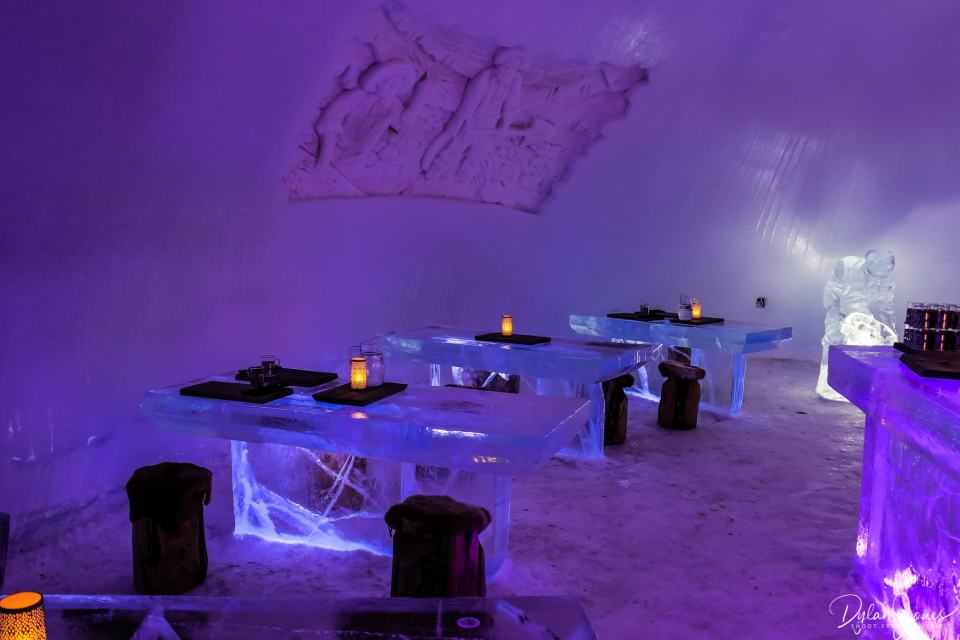 Ice Restaurant dining tables and sculpture, Saariselkä Lapland
