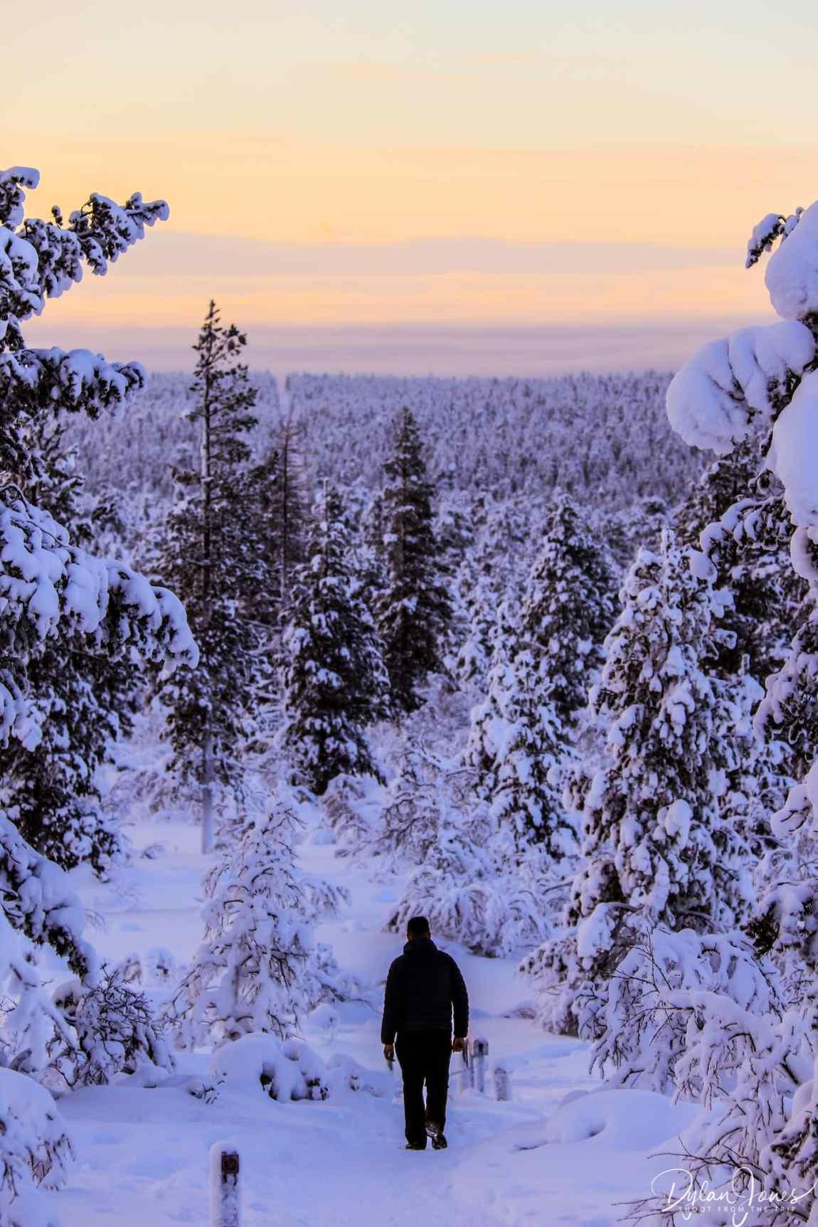 Walking back down from the Ahopää Fell, Saariselkä Lapland