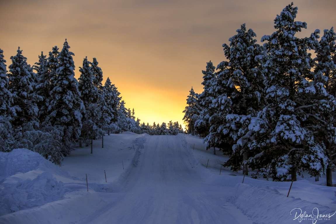 Glowing orange sunset at Kiilopää , Saariselkä Lapland