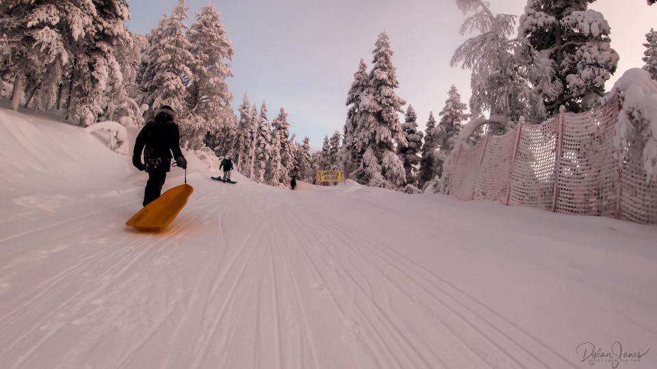 A slow section before a sharp corner, Saariselkä Lapland