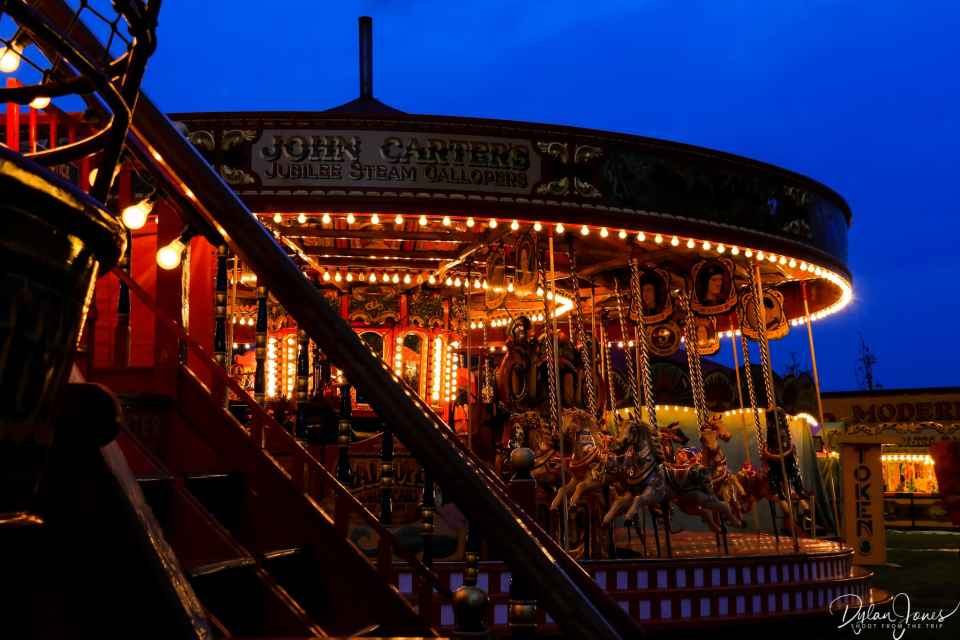 The lights and artworks of the Jubilee Steam Gallopers