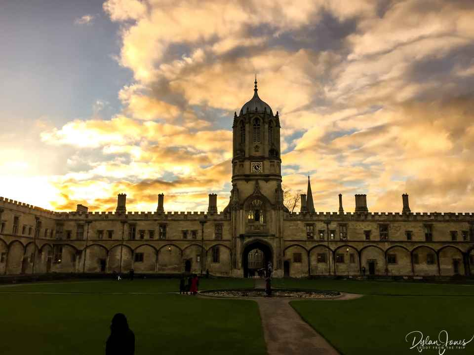 Christchurch College Quad during sunset