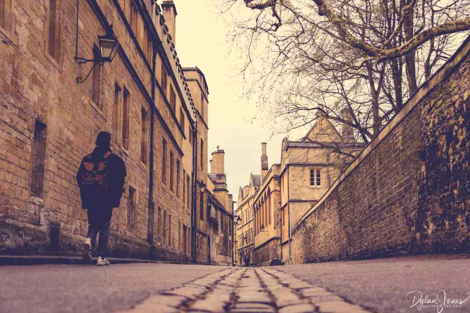 Looking down Brasenose Lane in Oxford
