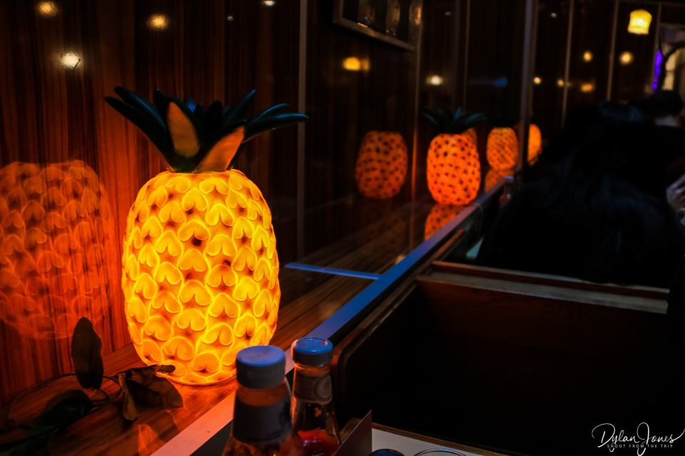 Cool pineapple lamps at The Breakfast Club