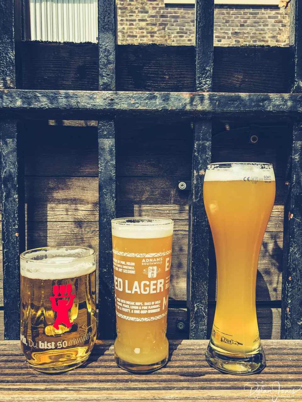 Sampling the beers at The Rake