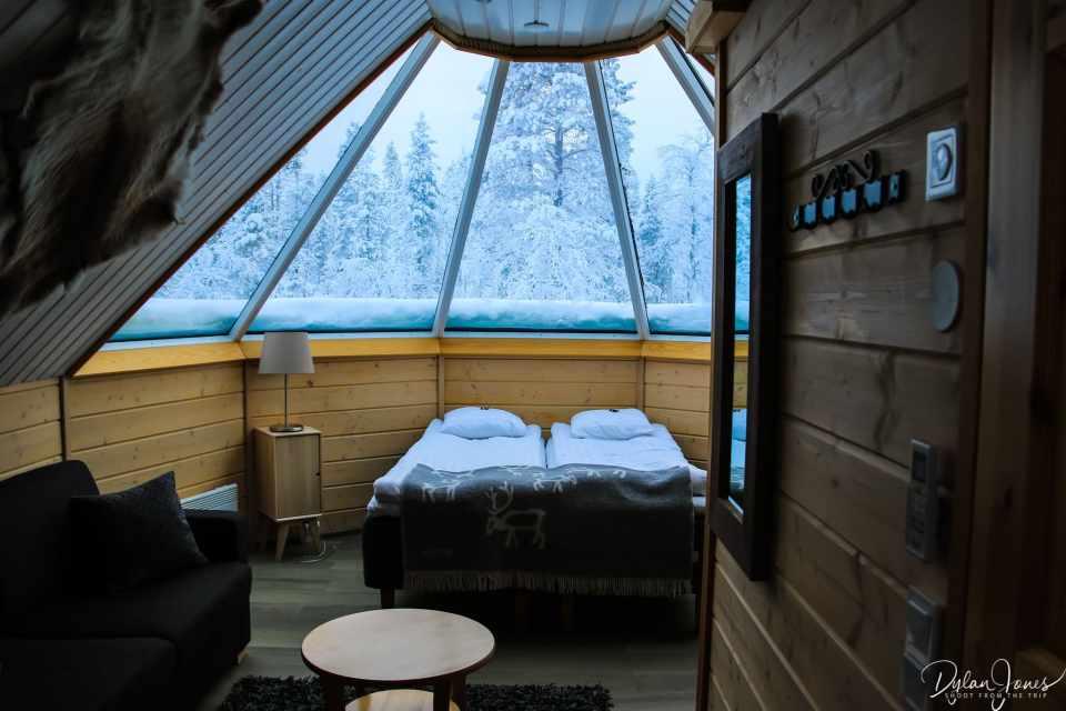 Interior overview of the Aurora Cabin at Northern Lights Village Saariselka