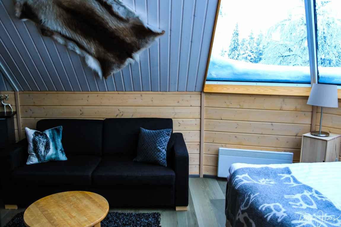The seating area of the Aurora Cabin