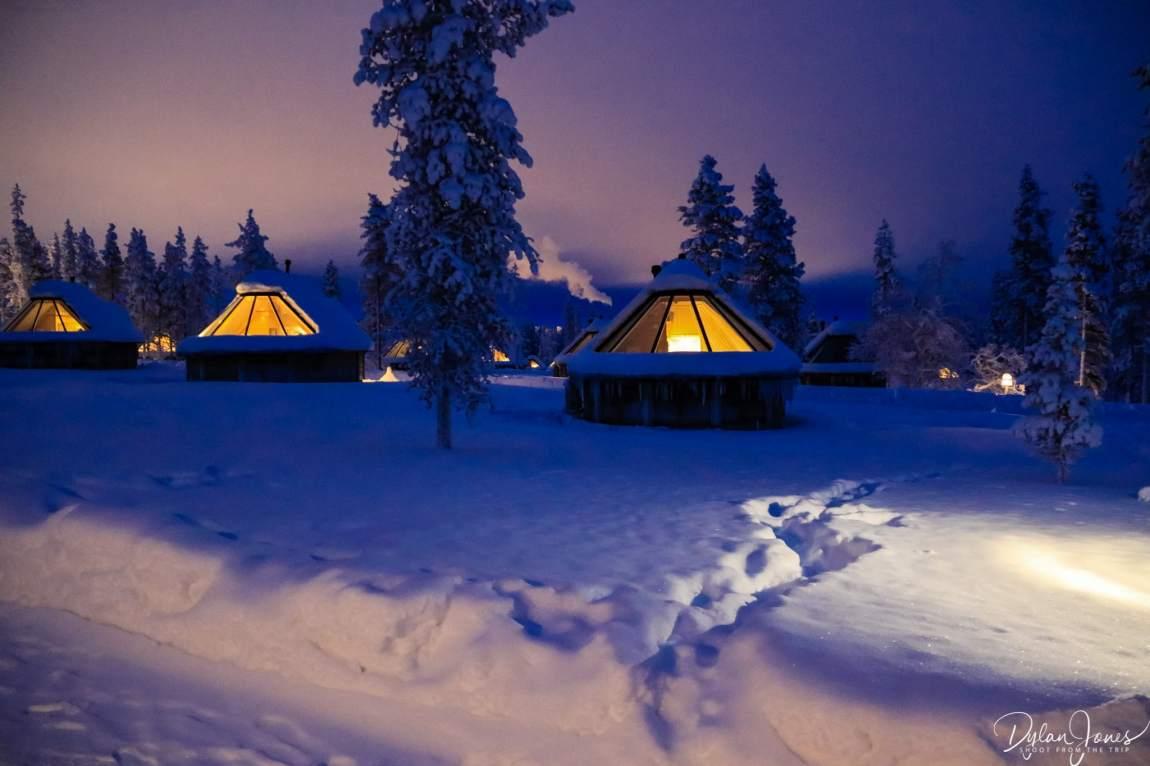 Northern Lights Village at night