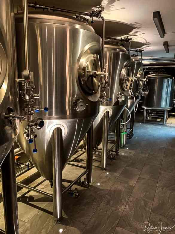 The beer tanks at the V-Bier Brewery