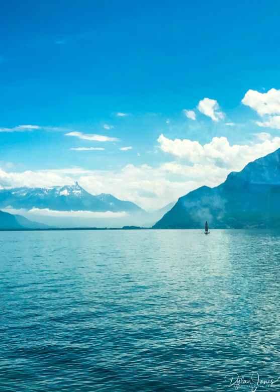 Beautiful train journey along Lake Geneva