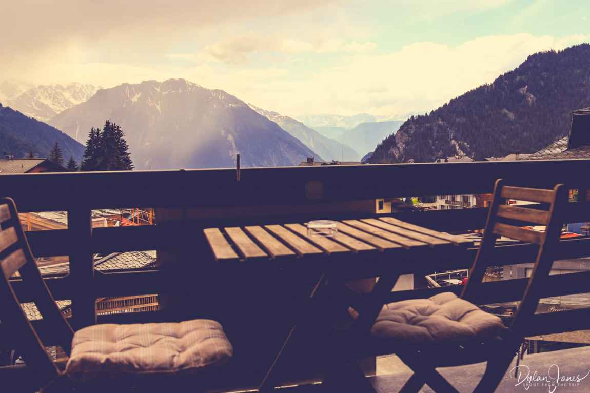 Mountain views from the balcony at Hotel Bristol Verbier