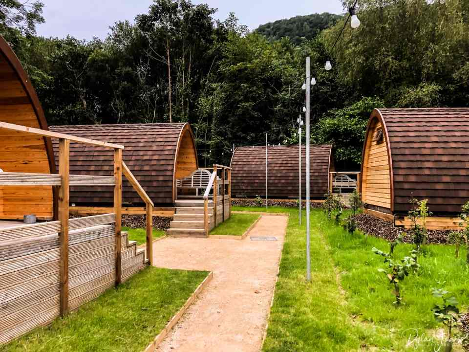 Glamping pods in the woodland