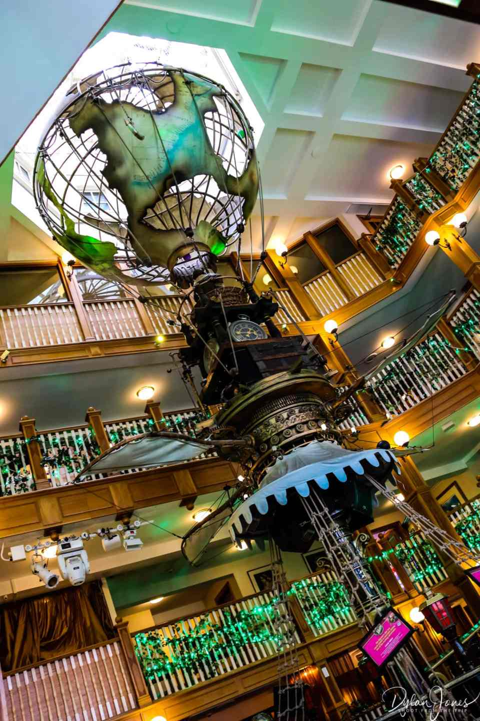 The Atrium and flying ship at the Alton Towers Hotel