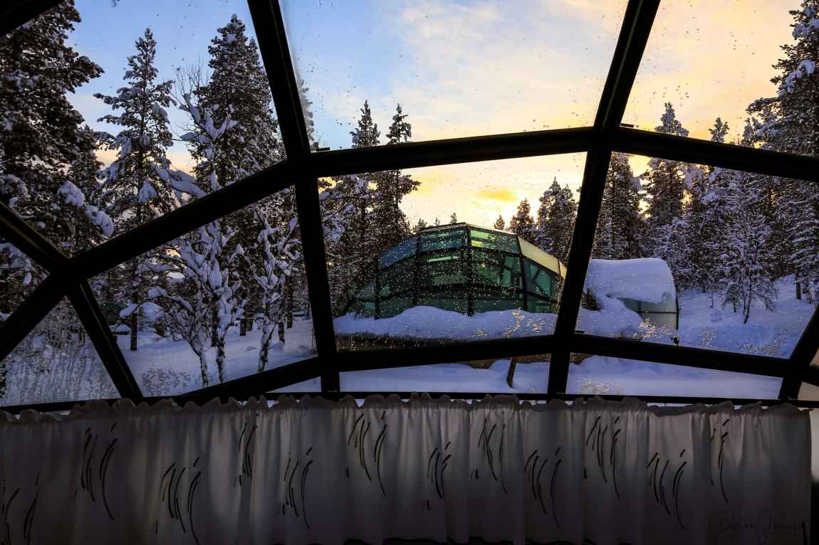 View from the Glass Igloo at Kakslauttanen Arctic Resort