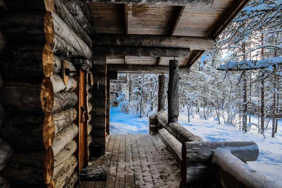 The deck of the cabin at Kakslauttanen Arctic Resort