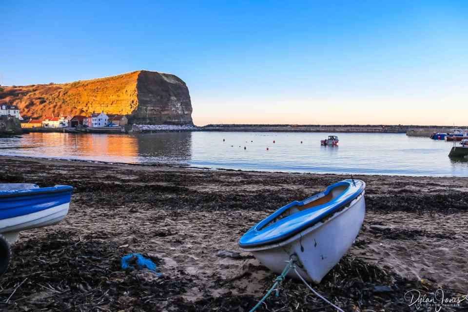 Evening views from the beach at Staithes