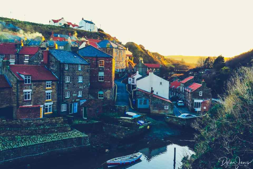 Looking up Staithes Lane with the North Yorkshire Moors in the background