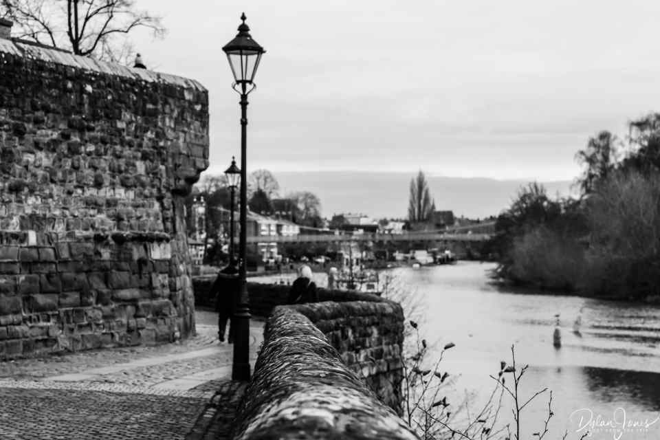 Chester City Walls at the River Dee