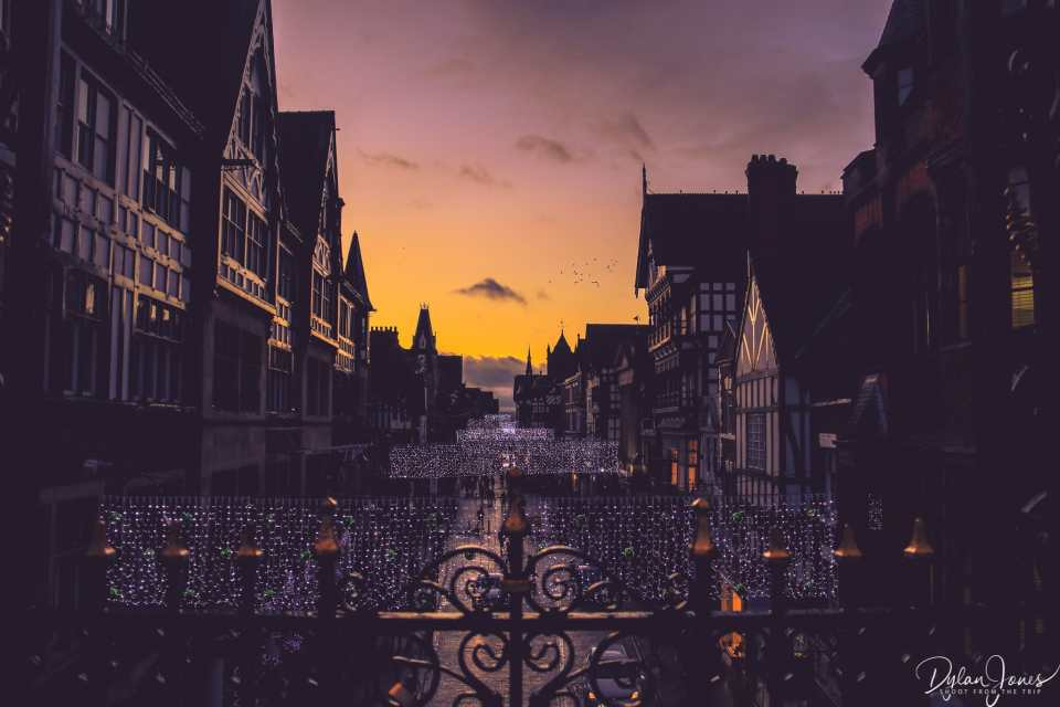 Sunset views from the Eastgate Clock in Chester