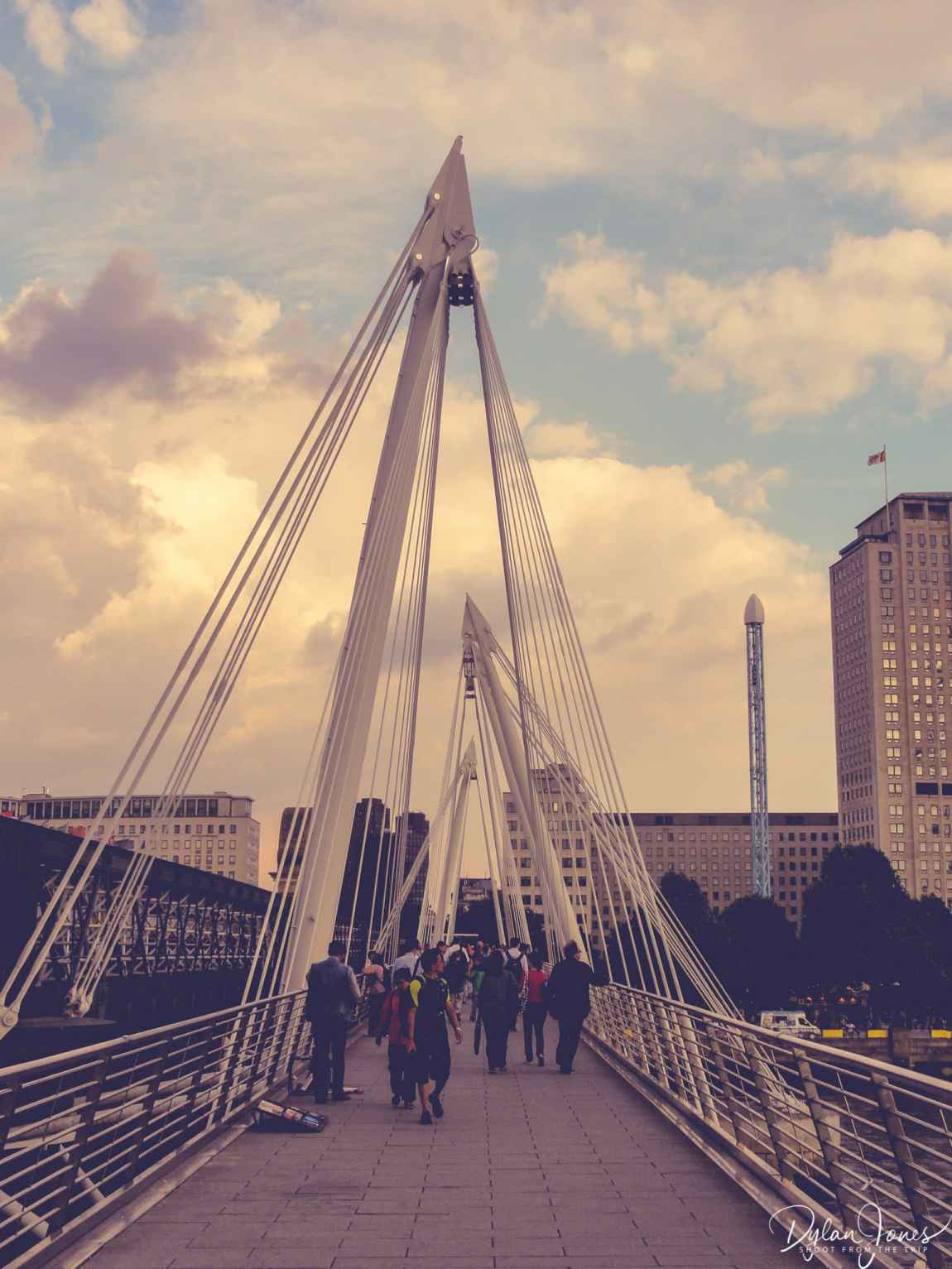 Crossing the Golden Jubilee Bridge from Embankment to the South Bank