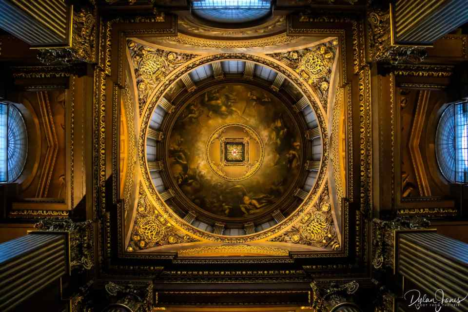 Looking up at the ceilings of the Painted Hall