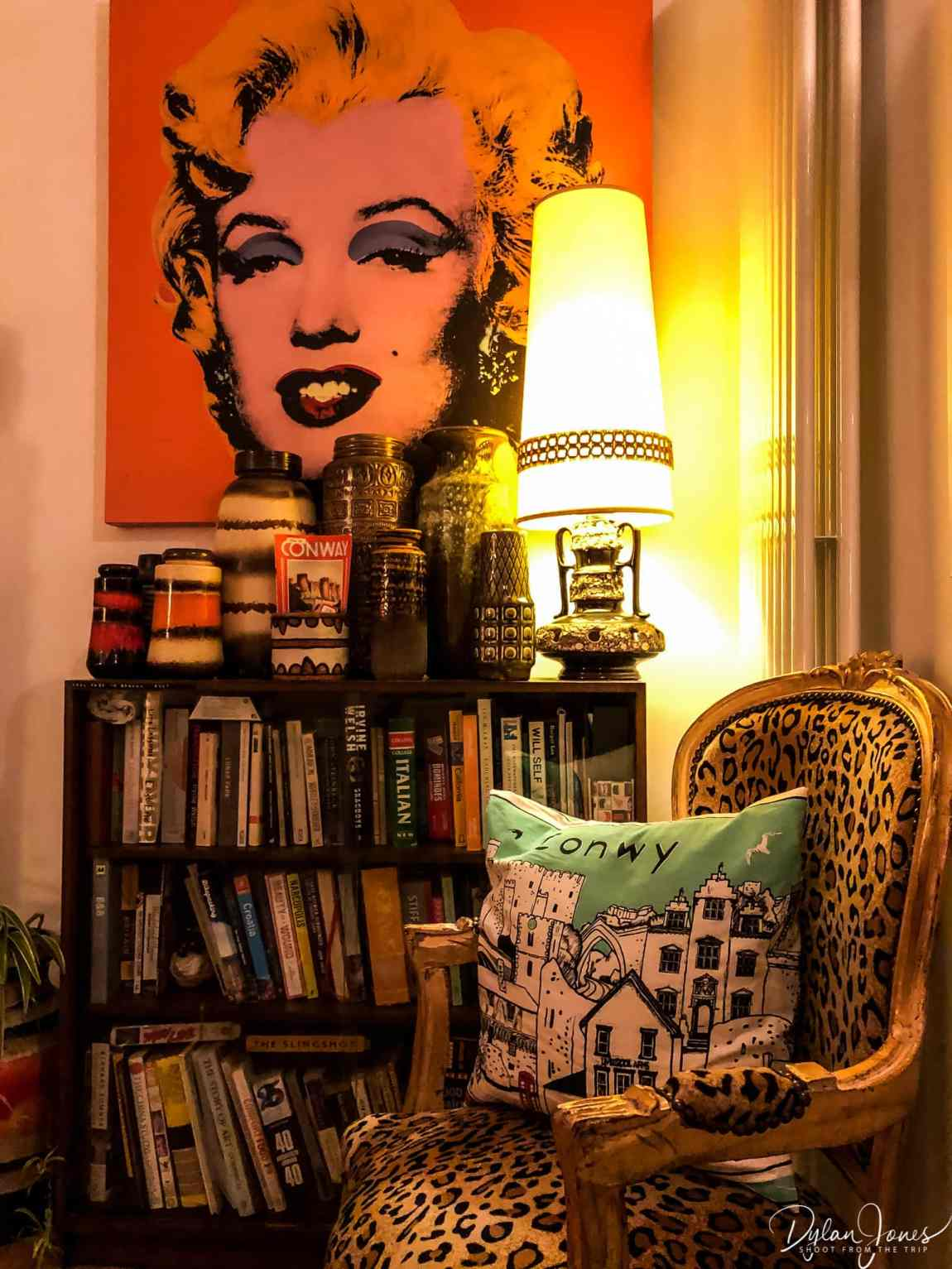 Marilyn, books and leopard print in The Lounge at Number 18, the most Instagrammable accommodation in Conwy