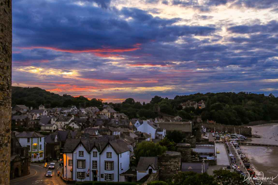 A sunset view of Conwy from Conwy Castle