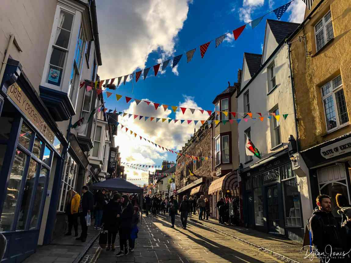 A sunny view of Conwy High Street