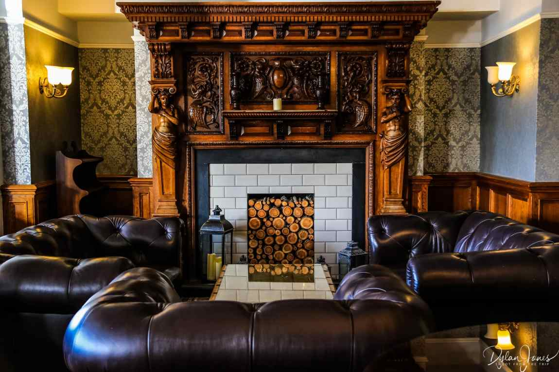 Ornate wooden fireplace at the Beech Hill Hotel & Spa