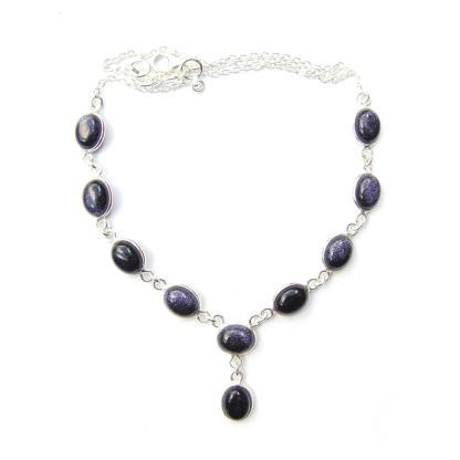 Blue Goldstone Oval Necklace