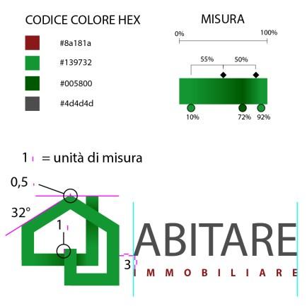 grafica con specifiche tecniche per il marchio d'impresa di Abitare immobiliare.