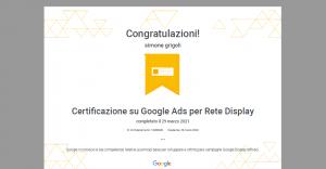 Agenzia Google Ads Shooting Studio di Genova. Risultati della certificazione di Google per l'utilizzo della rete Display