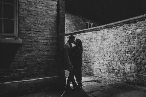 Backlit kissing shot on the streets of Oakham